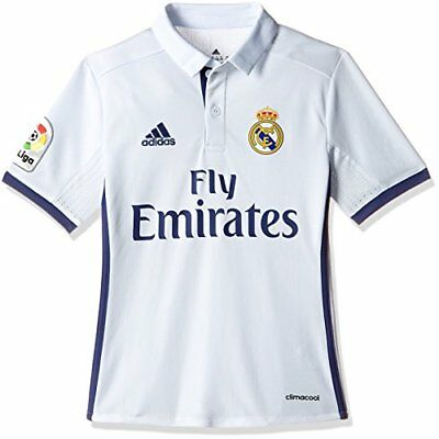 adidas Real Madrid Replica Domicile Maillot Garçon, Crystal White/Raw Purple, F