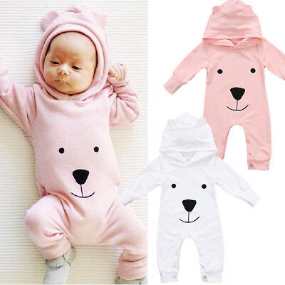 Cute Toddler Infant Baby Boy Girl Clothes Hooded Romper Bodysuit Jumpsuit Outfit