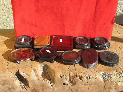 A1753  Lot of 10 Vtg or Atq Chinese or Japanese Carved Wood Stands for Nutsukes