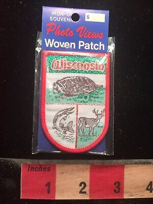 Vtg WISCONSIN - HUNT FISH WILDLIFE Woven Patch - In Package 79Y3