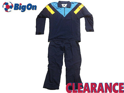 Clearance New Full Boys/mens Tracksuit - Navy/cyan/yellow - Bigon