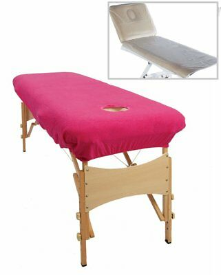 Massage Beauty Couch Cover Pink Polycotton Elastic Bed Towel Sheet Face Hole