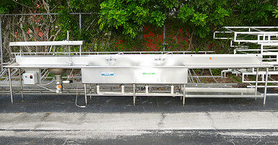 20 Foot Long Stainless Steel 4-Compartment Sink w/Disposal, Fishing Dock Orchard