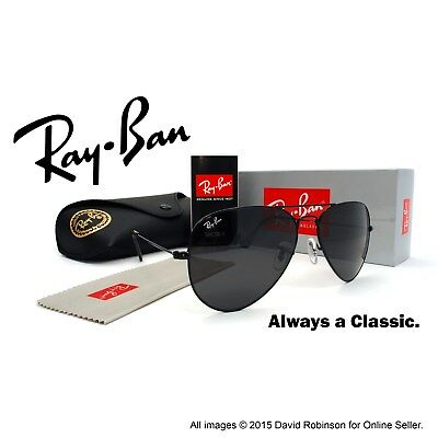New Ray-Ban Aviator Classic Sunglasses Black Frames Grey Lenses RB3025 58mm