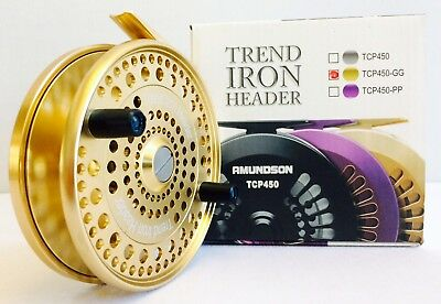 Amundson Trend Iron Header Centerpin Float Reel (Gold On Gold)  **new**