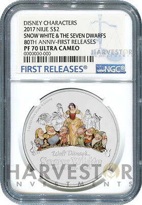 Disney Snow White And The Seven Dwarfs 80Th Ann. - Ngc Pf70 First Releases W/ogp
