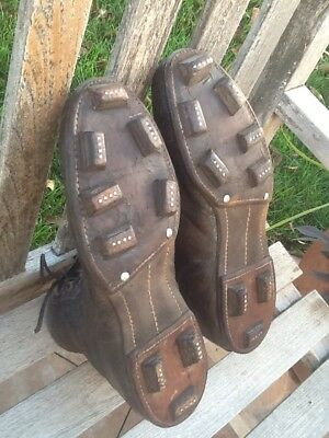 WONDERFUL Early 1900's Old Antique Block All Leather Football Cleats Vintage WOW