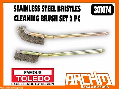Toledo 301074 Stainless Steel Bristles Cleaning Brush Set 2 Pc - Rust Scale Dirt