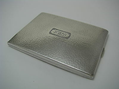 HAMMERED SOLID STERLING SILVER CIGARETTE CASE by A.Stowell & Co. Boston ca1900s