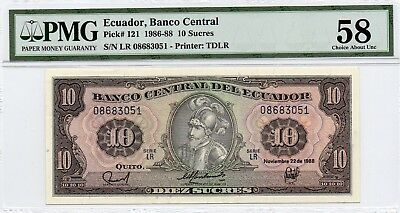 Tt Pk 121 1986-88 Ecuador Banco Central 10 Sucres Pmg 58 Choice About Unc Pop 5!