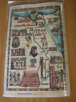 Genuine Egyptian  PAPYRUS - Tourist Map of Egypt - 29.5 x 19.5cm    #400