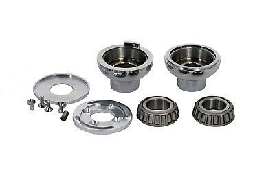 "Harley Chrome Fork Neck cup kit with internal stop fits 1.0"" billet triple tree"
