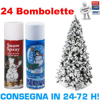Kit 24 bombolette spray di neve artificiale 250ml per albero di natale presepi