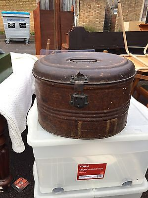 Antique Victorian Metal Military Hat Tin-box