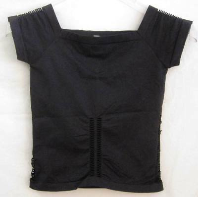 NWOT $30 Retail O/S Black EUROTARD Cut Out Short Sleeve Top, Square Neck