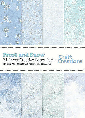 24 Sheets FROST & SNOW Assorted 120gsm Patterned A5+ Christmas Craft Paper