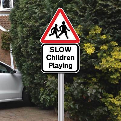 SLOW CHILDREN PLAYING SIGN with POST FIXING KIT,Slow Down Kids Road Safety Sign