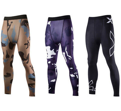 Men Camouflage Fitness Leggings Gym Stretch Trousers Base Layer Pants Sports New
