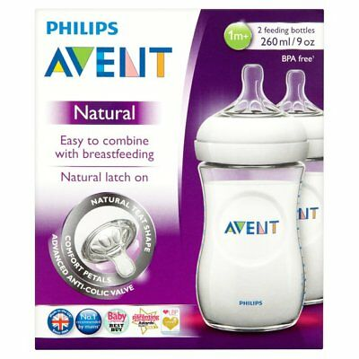 2x Philips AVENT Natural Milk Baby Feeding Bottles Anti-Colic 260ml 9oz (Clear)