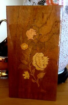 Italian Inlaid Wooden Floral Hanging Plaque Notturno Intarsio Sorrento Labelled