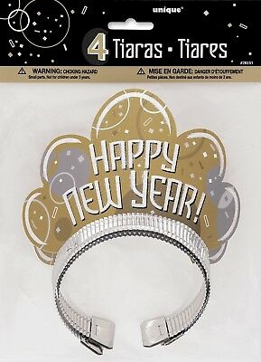 Bubbly New Years Eve Glitter Tiara Party Hats, Pack of 4