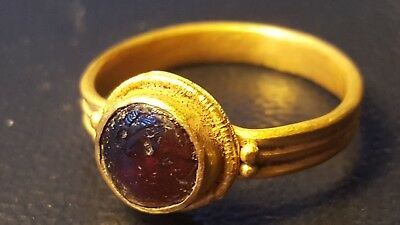 Viking stunning Gold ring with centre garnet 8th-9th century AD very rare