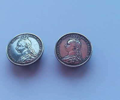 Queen Victoria Sixpence x two both  1889 - adapted to Cufflinks