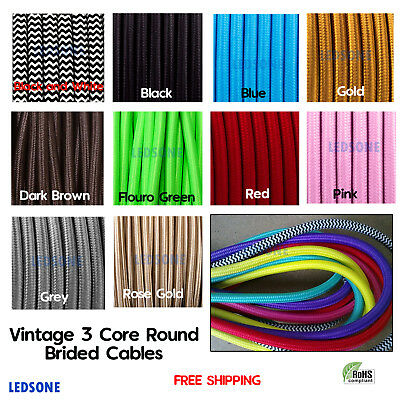 UK Round Silk Braided Vintage Fabric Coloured Lighting Cable Flex 3 core 0.75mm