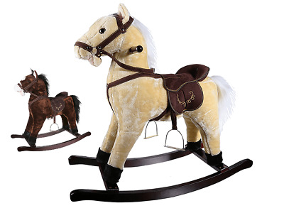 Children Kids Ride On Rocking Plush Horse With Realistic Sound Wooden Riding Toy