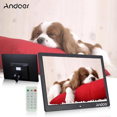 15.6'' HD LCD Digital Photo Picture Frame Clock MP3/4 Movie Player+Remote T2N7
