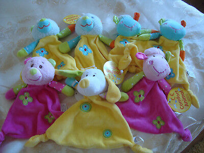 Job Lot Of 7 X Small Baby Comfort Animals / Blankets ~  Bnwt
