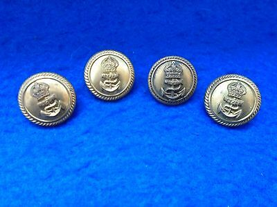 4 x  WWI/II ROYAL NAVY OFFICERS 23MM GILT BUTTONS, KC, LAROOM & VERSEY, GIEVES