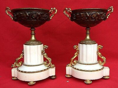 Pair Of Small Pans / Cuts Marble And Bronze Napoleon Iii