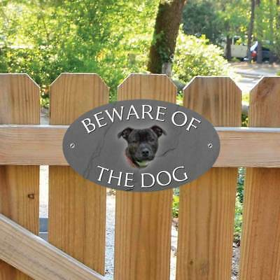 Beware of the Staffordshire Bull Gate Sign, Staffie Beware of the Dog Plaque