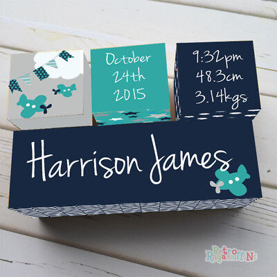 WOODEN BIRTH BLOCK NAME SET PERSONALISED NURSERY Baby Boy Aeroplane Navy