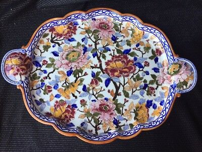 Large Dish Earthenware Gien Decoration Flowers Peonies
