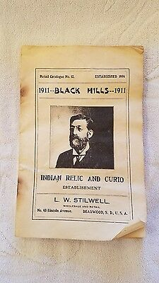 antique, 1911, l w stilwell, deadwood, sd indian relic catlouge, pb, 21 pps