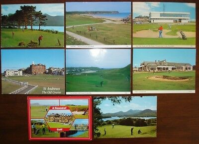 8 postcards of golf courses in Scotland. Royal Troon, St. Andrews, Cruden Bay...