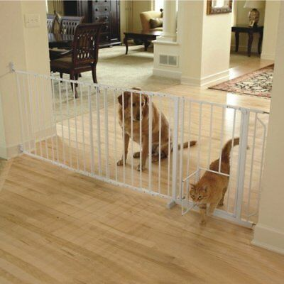 "Walk-Thru Pet Baby Dog Gate 37"" to 60"" Wide Long Safety Big Strong White New"