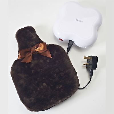 Dreamland On-The-Go Heat Pod Cordless Ceramic with Washable Brown Faux Fur Cover