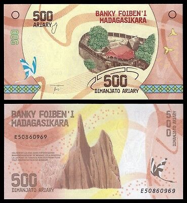 Madagascar  500 Ariary  ND 2017  Pick New   SC = UNC