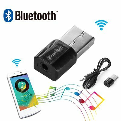Bluetooth Wireless Audio 3.5mm Stereo Music Receiver USB Charging Port Adapter