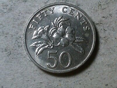 Singapore 50 cents 1997 Yellow Allamanda flower