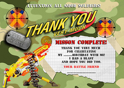 Nerf gun/Nerf war/ Army/Nerf war  Birthday Party thank you cards X 10 CARDS ds2