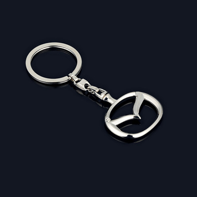 Metal Zinc Alloy Car Logo Hollow out Keyring Key Chains Silver Holder for Mazda