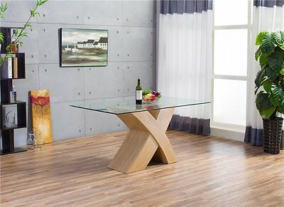 MILANO 'X' Oak Effect Glass 6 Seater Chairs Dining Table