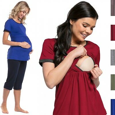 Happy Mama. Women's Maternity Top Nursing Breastfeeding Pyjamas Nightwear. 689p
