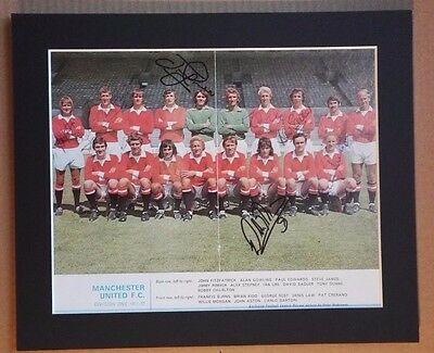 "1971-72 MANCHESTER UNITED SIGNED  PICTURE 12"" x 10"" IN MOUNT  7 SIGNED FL REVIEW"