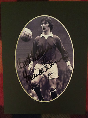 Francis Burns - Manchester United - Signed Mounted Picture Very Scarce 1965-72