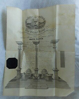 """Great Antique Engraved Masonic parchment Document 1868 """"Grand Lodge Of Canada"""""""